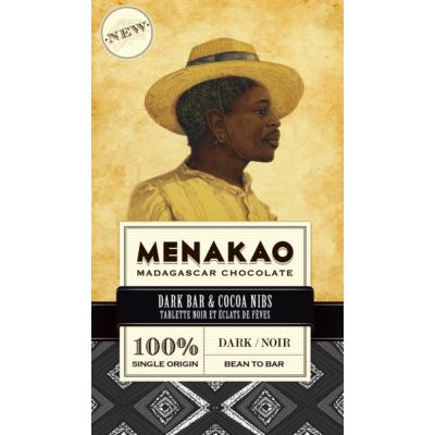 menakao 100% dark & cocoa nibs étcsokoládé