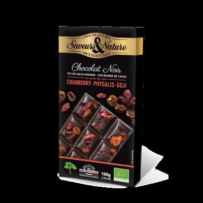 SAVEURS & NATURE Étcsokoládé vörösáfonya-physalis-goji